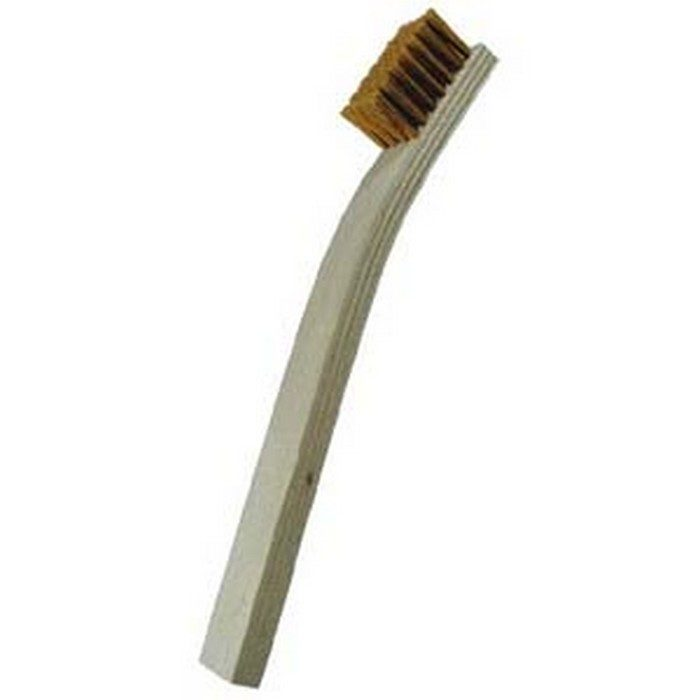 7 x 7 Row Brass Bristle and Plywood Handle Scratch Brush