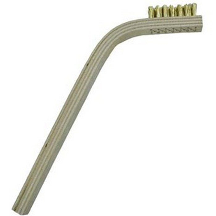 3 x 7 Row Brass Bristle and 60 degree Bent Handle Scratch Brush